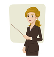 Businesswoman pointing something vector image
