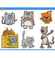 cartoon cat characters collection vector image