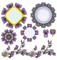 circle frames floral borders with iris flowers vector image