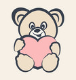 teddy bear toy with heart vector image