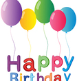 The five balloons with a happy birthday greeting vector image