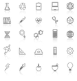 Science line icons with reflect on white vector image vector image