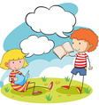 Boy and girl reading books in the park vector image vector image