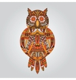 Brown owl in ornamental style for design vector image