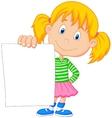 Cartoon girl holding blank paper vector image