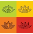 Color flat flowers with short shadow vector image