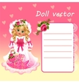 Cute doll Princess in pink dress with card vector image