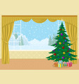 room with christmas tree and gifts vector image