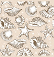 seamless pattern beige shells and starfish with vector image