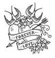tattoo two hearts pierced by arrow forever love vector image