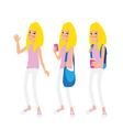 Young blonde school girl on the white background vector image