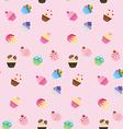 Sweet pink cupcake seamless pattern vector image