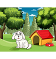 A white puppy outside his doghouse vector image vector image