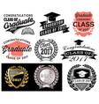 Graduation set class of 2017 congrats grad vector image