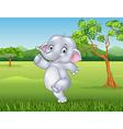 Cartoon happy elephant in the jungle vector image