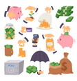cartoon money save symbols concept finance icons vector image