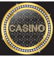 Casino gold sign with diamonds vector image