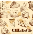 Cheese sketch seamless wallpaper vector image