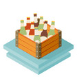 Color isometric icon with case of dark beer with vector image