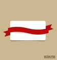 Gift card note with red ribbon vector image