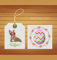 happy easter card with rabbit and egg vector image
