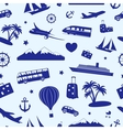 Seamless monochrome pattern on travel and tourism vector image