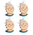 set of grandmother face icons vector image