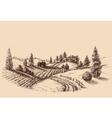 Farm landscape etch agriculture scene vector image vector image