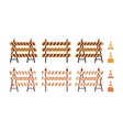 Set of roadblock with light and cone vector image