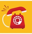 Retro styled red telephone ringing vector image