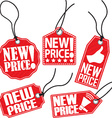 New price red tag set vector image vector image