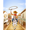 A boy riding in a horse holding a rope vector image vector image