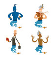 cartoon genie character magic lamp vector image