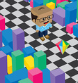 geek boy invasion video game asset isometric vector image