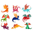 cute fairy dragons set vector image