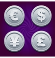 Dollar Euro Pound and Yen silver coins vector image