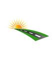 sunset road pavement logo vector image