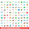 100 city icons set cartoon style vector image
