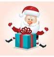 santa claus with box gift blue isolated vector image