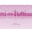 Alkmaar skylline in purple radiant orchid vector image