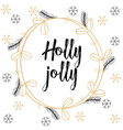 Christmas calligraphy Holly Jolly Hand drawn brush vector image