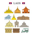 laos landmarks and culture object set vector image