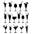 Cocktail silhouettes sign cocktail drink glass set vector image