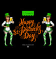 Funny irish girl holding a beer Happy St Patricks vector image