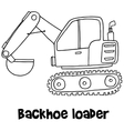 Backhoe loader with hand draw vector image