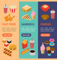 fast food banner vecrtical set isometric view vector image