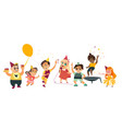 flat cartoon kids at party set vector image
