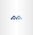 letter m blue logo sign element vector image