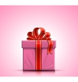 Pink gift box with ribbon and bow vector image