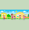 seamless line of houses with people vector image